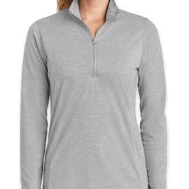 Sport-Tek Women's Tri-Blend Quarter Zip Performance Shirt - Color: Light Grey Heather