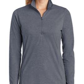 Sport-Tek Women's Tri-Blend Quarter Zip Performance Shirt - Color: True Navy Heather