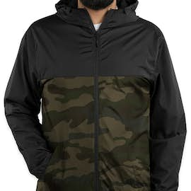 Independent Trading Colorblock Lightweight Full Zip Jacket - Color: Black / Forest Camo