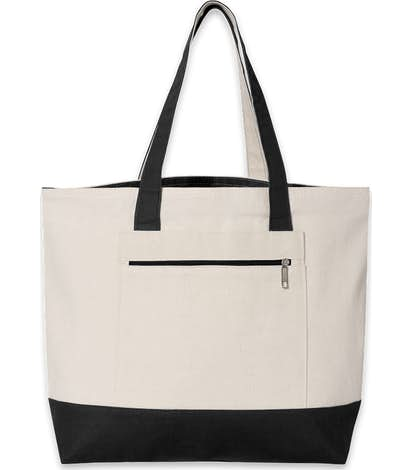 Custom Medium Front Zipper Cotton Boat Tote - Design Tote Bags ... bd8ab408f6db0
