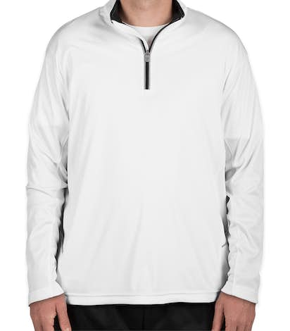 Ultra Club Lightweight Quarter Zip Performance Pullover - White