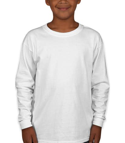 Gildan Youth Ultra Cotton Long Sleeve T-shirt - White