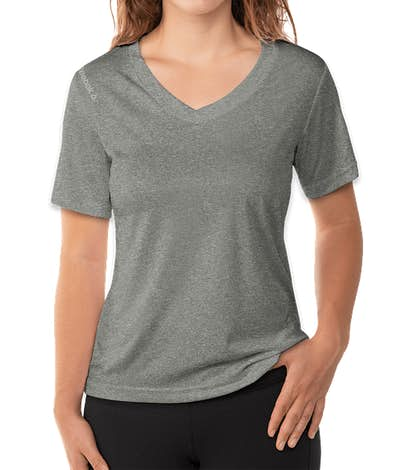 Reebok Women's Heather V-Neck Performance Shirt - Charcoal Heather