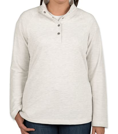 Charles River Women's Snap Button Pullover With Pockets - Ivory Heather