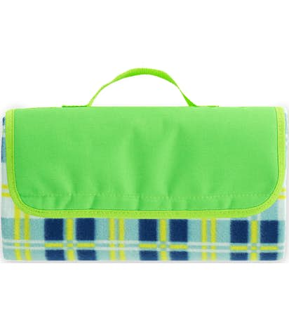 Roll-Up Picnic Blanket - Lime / Light Blue
