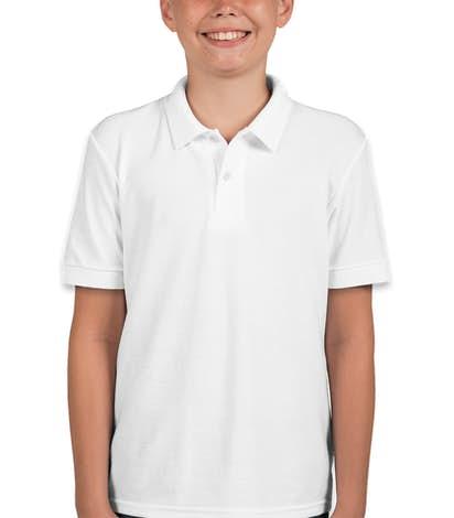 Gildan Youth Dryblend Double Pique Polo - White