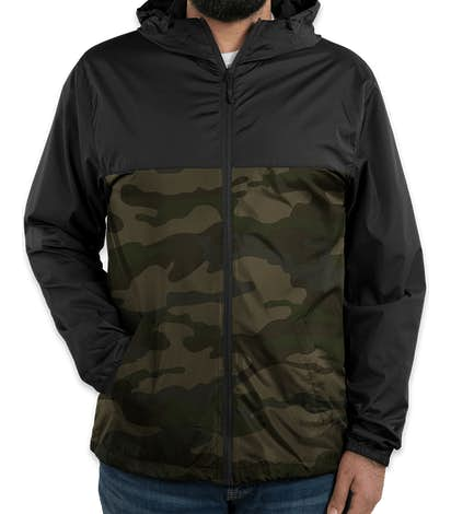 Independent Trading Colorblock Lightweight Full Zip Jacket - Black / Forest Camo