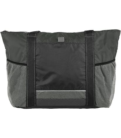 Colorblock Zippered Insulated Cooler Tote - Black / Charcoal