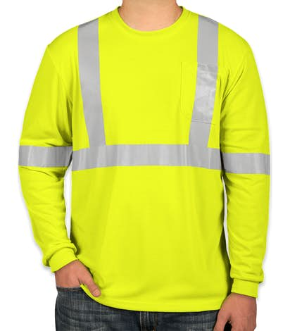 CornerStone Class 2 Long Sleeve Performance Safety Pocket Shirt - Safety Yellow