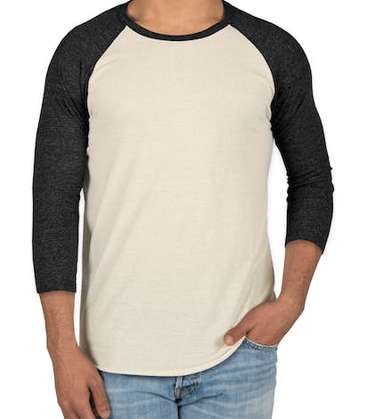 Threadfast Tri-Blend Baseball Raglan - Cream / Black Tri-Blend