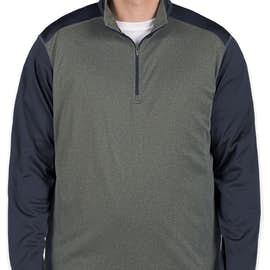 Ultra Club Lightweight Colorblock Quarter Zip Performance Pullover - Color: Grey Heather / Navy