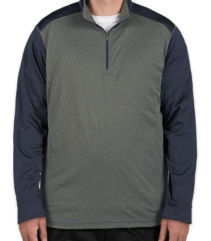 Ultra Club Lightweight Colorblock Quarter Zip Performance Pullover - Grey Heather / Navy