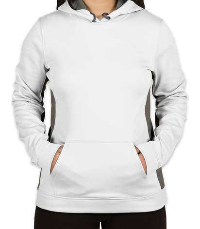 Sport-Tek Women's Colorblock Performance Pullover Hoodie - White / Dark Smoke Grey