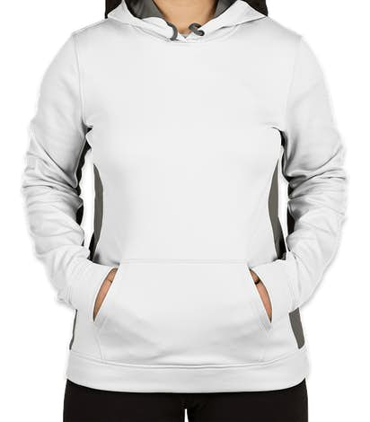 Sport-Tek Women's Colorblock Performance Pullover Hoodie - White / Dark Smoke Grey
