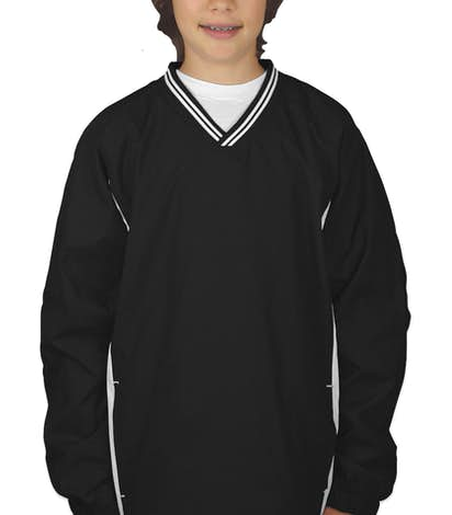 Sport-Tek Youth Tipped V-Neck Windshirt - Black / White