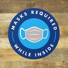 "Face Masks Required 12"" Circle Floor Decal"