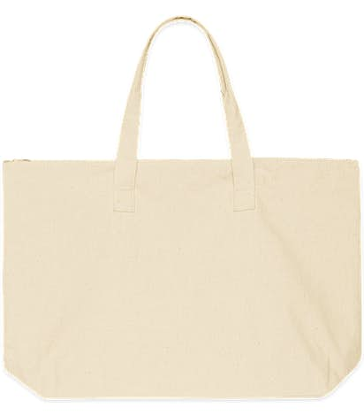 Large Wide 100% Cotton Canvas Zippered Tote - Natural