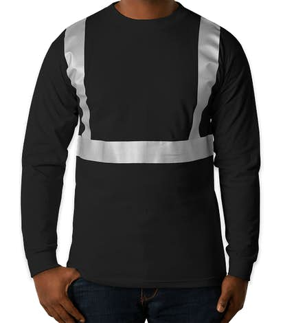 Bayside USA-Made Reflective 100% Cotton Long Sleeve T-shirt - Black