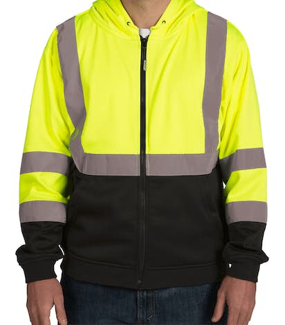 ML Kishigo Class 3 Hi-Vis Hooded Full Zip Sweatshirt - Lime