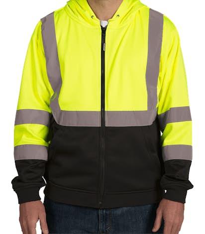 ML Kishigo Class 3 Hi-Vis Hooded Full Zip Sweatshirt - Lime