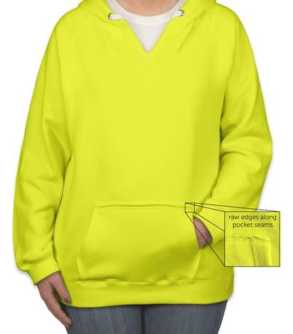 J. America Women's Neon V-Neck Pullover Hoodie - Neon Yellow