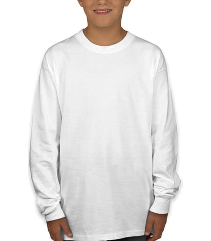 Hanes Youth Long Sleeve Tagless T-shirt - White