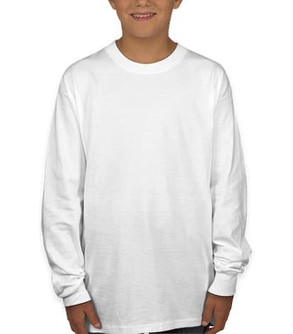 Hanes Youth Long Sleeve Tagless T-shirt - White