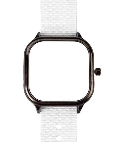 Gunmetal Watch with Nylon Band - White Face / White Band