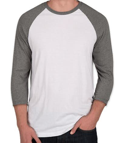 District Tri-Blend Raglan T-shirt - Grey Frost / White