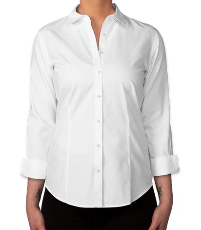 Brooks Brothers Women's Non-Iron 3/4 Sleeve Fitted Dress Shirt - Classic White