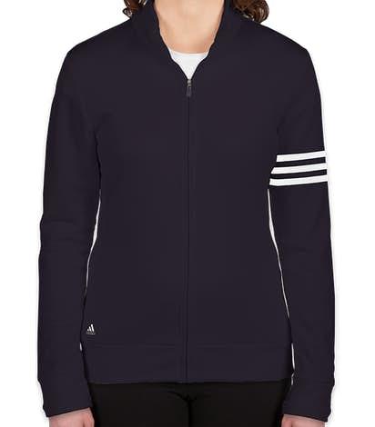 Adidas Women's ClimaLite Full Zip Performance Sweatshirt - Navy / White