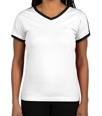 LAT Women's Retro Ringer V-Neck T-shirt - White / Solid Black