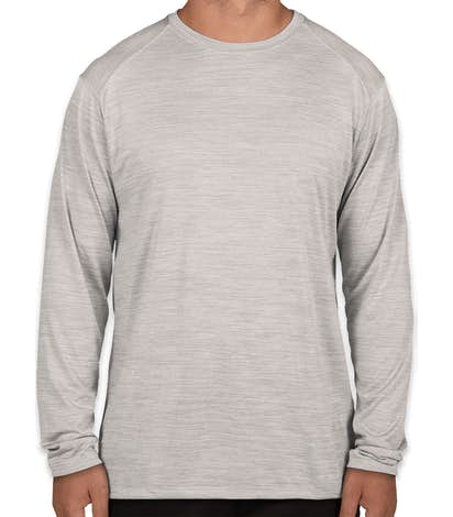 Augusta Tonal Heather Long Sleeve Performance Shirt - Silver