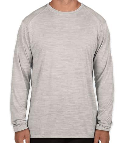 Augusta Tonal Heather Long Sleeve Performance Shirt - Silver