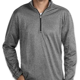 Adidas Brushed Terry Heather Quarter Zip Pullover - Color: Mid Grey Heather / Black