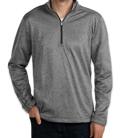 Adidas Brushed Terry Heather Quarter Zip Pullover - Mid Grey Heather / Black