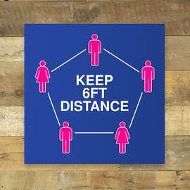 "6 Feet Distance 12"" Square Floor Decal"