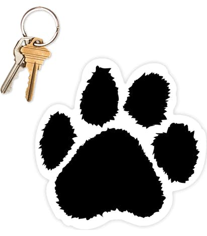 5.5 in. x 5.5 in. Paw Print Car Magnet - Black / White