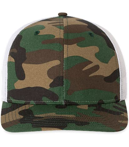 Richardson Patterned Snapback Trucker Hat - Army Camo / White
