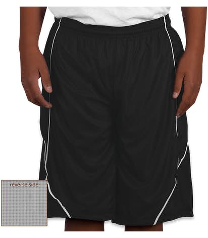 Sport-Tek Youth Micro-Mesh Reversible Contrast Shorts - Black / White
