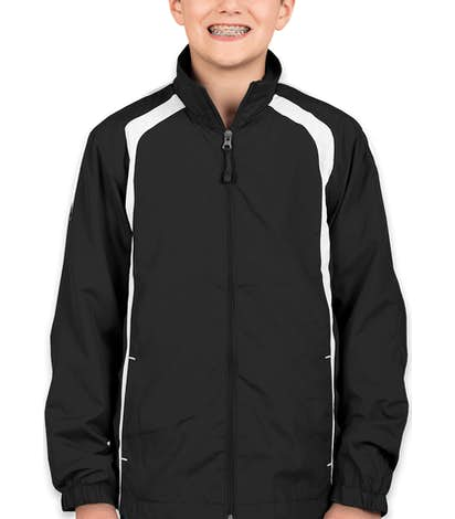 Sport-Tek Youth Full Zip Colorblock Warm-Up Jacket - Black / White
