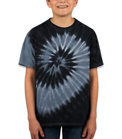 Dyenomite Youth 100% Cotton Two-Tone Spiral Tie-Dye T-shirt - Black