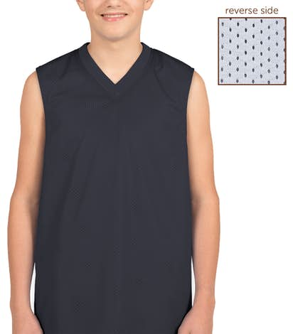 Teamwork Youth Fadeaway Reversible Mesh Basketball Jersey - Navy / White