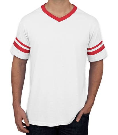 Augusta Double Sleeve Stripe Jersey T-shirt - White / Red