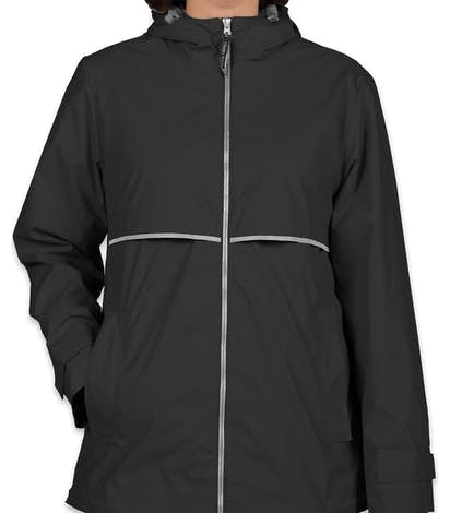 Charles River Women's New Englander Hooded Rain Jacket - Black / Reflective