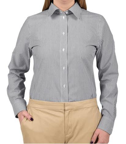 Devon & Jones Women's Banker Stripe Dress Shirt - Navy