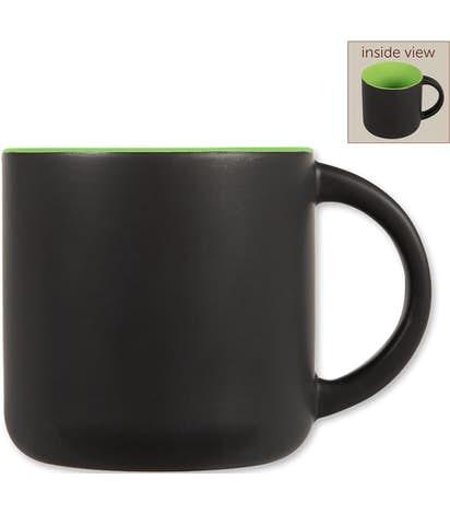 14 oz. Ceramic Two-Tone Black Minolo Mug - Black / Lime