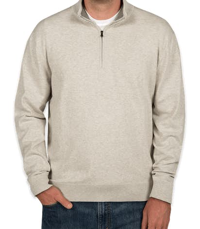 Cutter & Buck Half Zip Sweater with Elbow Patches - Oatmeal Heather