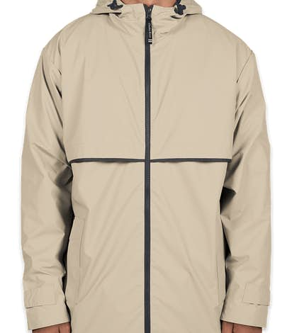 Charles River New Englander Hooded Rain Jacket - Taupe / Navy