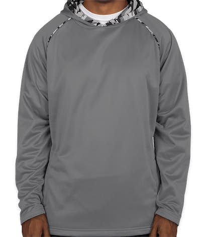 Augusta Camo Colorblock Performance Pullover Hoodie - Graphite / Black Mod